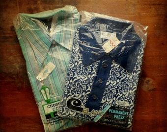 FINAL SALE --- Mens Vintage 1970s Deadstock Knit, Button Front Shirts