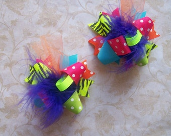 Hair Bows Set of 2---Mini Funky Fun Over the Top Bows--Funky Bright and Neon---