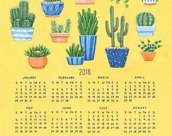 SALE 2018 Plant Calendar, Cactus and Succulent Calendar, Single Page 11 x 14 Poster Calendar
