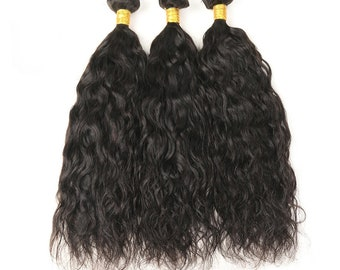 Brighten Star Collection, Brazilian Human Hair  Water Weave 4 Bundles Hair Extensions  Natural Black Color.Free Shipping