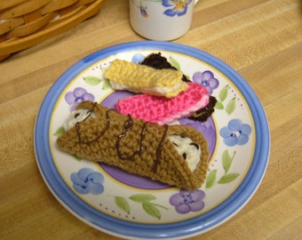 Chocolate Chip Cannoli and Sugar Cream Wafer Cookies Crochet Pattern PDF