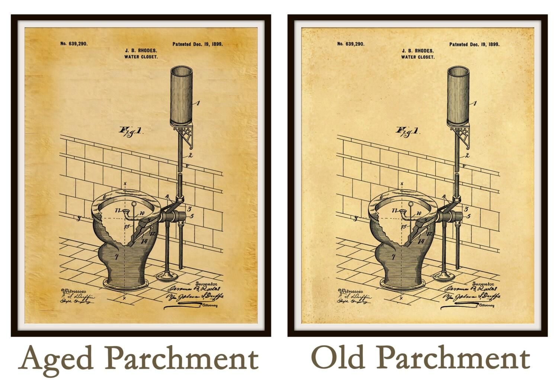 Patent 1899 Toilet - Water Closet Patent - Art Print Bathroom Art ...