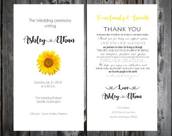 100 Sunflower Wedding Ceremony Programs