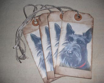 Vintage Style Scottie Dog Hang Tags- Set of 4