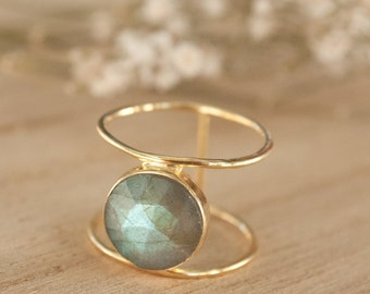 Labradorite Ring * Gold Ring * Statement Ring * Gemstone Ring * Labradorite * Bridal Ring * Wedding Ring * Organic Ring * Natural * BJR003
