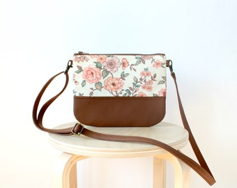 Crossbody leather bag, Spring Summer Clutch Purse, Every day purse, Vegan, Every day bag, Floral