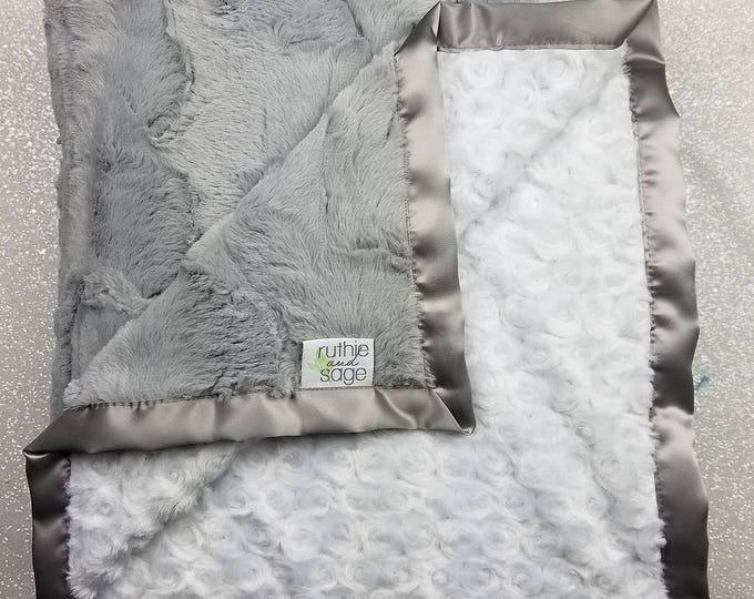 Minky Blanket, baby girl, blanket for girl, baby boy, grey and white, warm blanket, soft blanket, rose minky, hide minky, silver Lovie, Silk