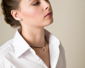 Statement necklace, Leather chocker necklace with double circular ring statement pendant, 14K Gold plated pendant or Silver pendant