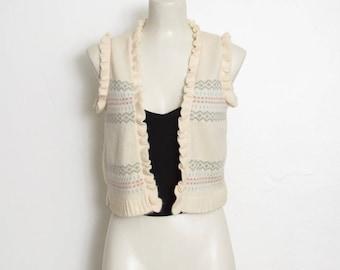 Gilet pull Vintage crème & Pastel à motifs de tricot / / Eric Scot Boho Cardigan sans manches
