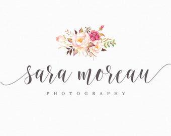 Floral Photography Logo - Premade Watercolor Flower Logo Photography Watermark and Logo Small Business Branding - Boutique Premade Logo 178