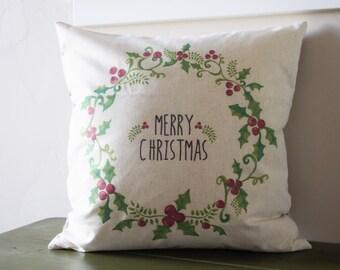 Christmas pillow cover, Christmas decor, Merry Christmas pillow, Holly Berry Pillow, 18x18