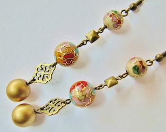 Vintage Cloisonne Bead Earrings ERG5