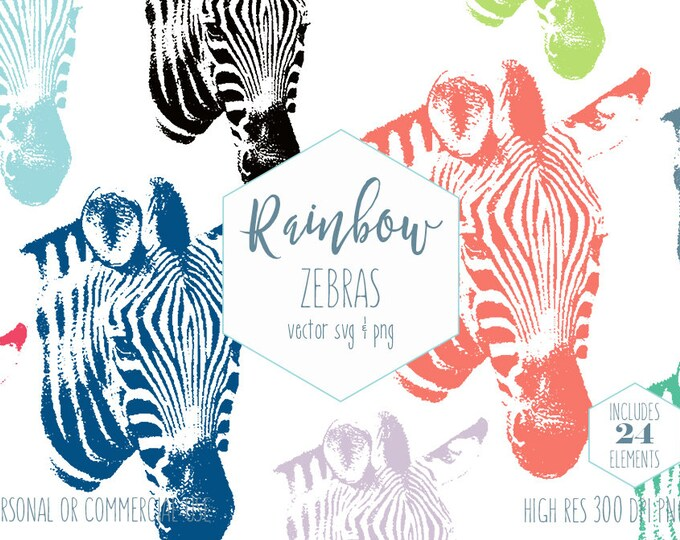 ZEBRA HEAD CLIPART for Commercial Use Animal Clip Art African Safari Images Wild Animal Rainbow Colors Zoo Vector Digital Graphics Zebra Svg