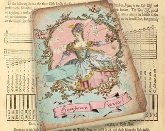 Pocket notebook - Marie Antoinette - Bonjour Paris - Shabby chic Style -48  plain pages - Handmade notebook
