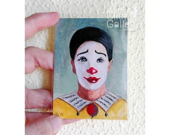"ACEO Original miniature Clown Portrait, 2,5"" x 3.5"", OAK,acrylic painting, tiny art, ATC collectible, nursery gift"