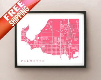 Palmetto Map Print - Florida Poster