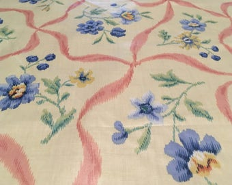 """Vintage - Waverly """"Fairhaven"""" Desigber Showcase blue and pink ikat style print on medium weight high sheen cotton"""