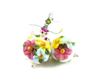 Pastel Floral Earrings, Nature Earrings, Lampwork Earrings, Pink Yellow Blue Earrings, Glass Earrings, Flower Earrings - Blooming Bouquet