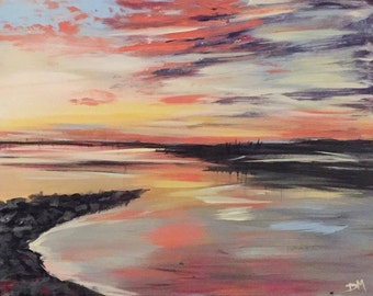 Sunset view-original acrylic painting on canvas