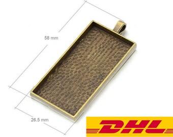 Bulk SALE-200PCS 24x48MM Rectangle pendant trays Blank-1x2 Rectangle Pendant Blank Bezel Cabochon Setting-DHL EXPRESS-Need your phone number