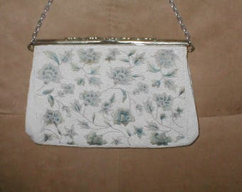 Antique White Beaded with Blue Embroidery Evening Purse