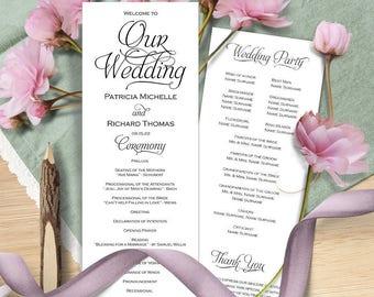 Wedding program template, Wedding program instant download, Printable wedding program, wedding program printable, editable text, DIY