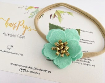 Small Anemone Flower Headband - Mint