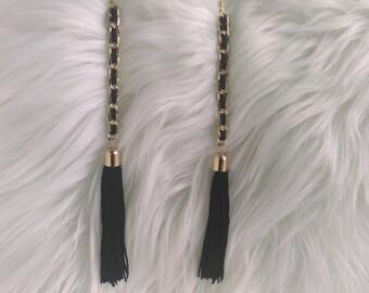 Black and Gold Dangle Earrings, Long Earrings, Tassel Earrings, Gold Tassel Earrings, Black Tassel Earrings, Gold Earrings, Black Earrings