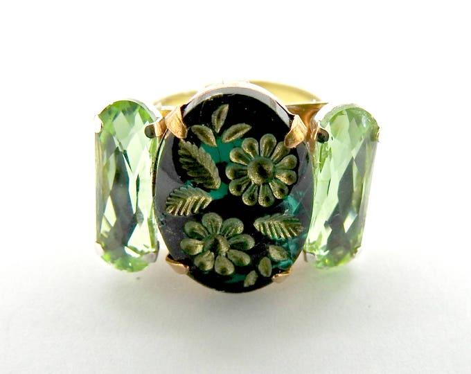 Large BOHO RING kelly GREEN jewelry