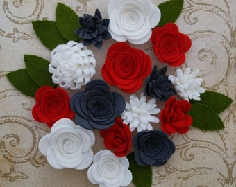 Handmade Wool Felt Flowers, Charcoal, White and Red