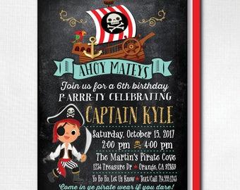 Pirate Boy Birthday Invitations, Printed Boy Pirate Theme Birthday Invites, Pirate Party Design, Printed Pirate Girl Invites, DI-3008