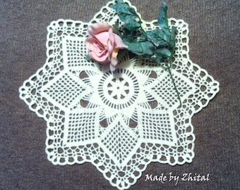 D-1 - White Crochet Lace DOILY Homedecor Crochet Original Crocheted Doily Wedding Doilies White Lace Doilies Made by Zhital