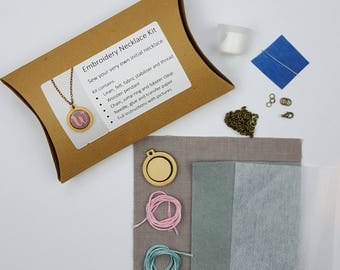 Embroidery Initial Necklace Craft Kit DIY