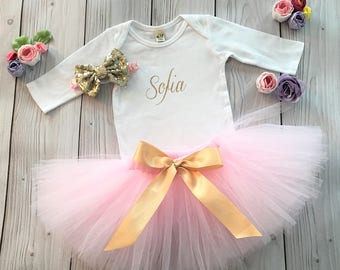 Pink Gold Baby Girl 1st Birthday Outfit | Baby Tutu | Tutu Dress | Birthday Dress | Baby Girls Cake Smash Outfits | Birthday Tutu