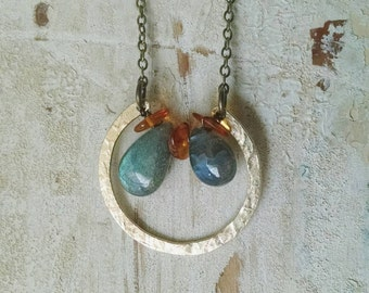 Brass Hammered Hoop - Circlet - Necklace with Labradorite and Amber Chips - Green Blue Orange Flash - Varying Sizes of Drops - No Two Alike
