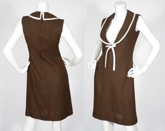 1960er Jahre Vintage Mod Low-Cut-braun Leinen Tag Kleid Sz XS