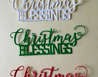 Christmas Blessings Diecuts; Set of 3; Handmade in USA