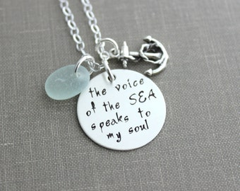 the voice of the sea speaks to my soul, inspirational quote necklace, hand stamped sterling silver anchor jewelry, genuine sea glass, beach