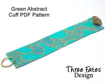 Pattern, Tutorial, Green, Abstract, Seed Bead Pattern, Beaded Bracelet, Instant Download, PDF Pattern