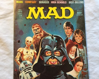 Vintage Mad Magazine/No. 196, Jan. 1978/Star Wars, Three's Company and more/Spoof/Great Condition