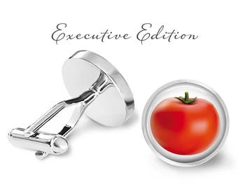 Tomato Cufflinks - Fruit Vegetable Cufflinks - Produce Cuff - Tomatoes Cuff Links (Pair) Lifetime Guarantee (S0173)