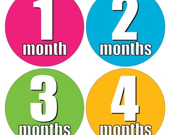 12 Monthly Baby Milestone Waterproof Glossy Stickers - Just Born - Newborn - Weekly stickers available - Design M017-11