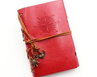 "Notebook A6 ""Explorer"" kraft, red faux leather leaves"