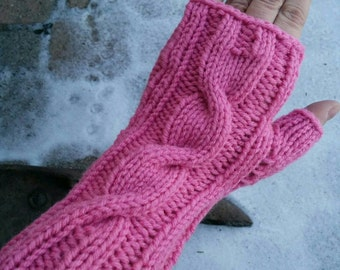 Hand Knit Wrist Warmers Fingerless Gloves Cable Stitch Rose Pink Color READY TO SHIP