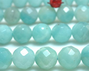64 Faces-''47 pcs of  Natural Amazonite faceted round beads in 8mm (06794#)