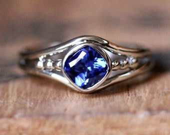 Blue sapphire engagement ring, white gold sapphire ring, lab created sapphire ring, alternative engagement ring, organic ring, custom