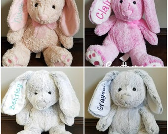 Personalized embroidered Easter bunnies, baby shower gift