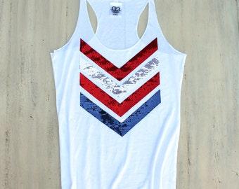 SEQUIN 4th of July Tank Top Shirt. Red White Blue. Sequin Chevron. USA Tank. America Tee T Shirt. American Flag Tank. Liam Payne 1D. Tumblr