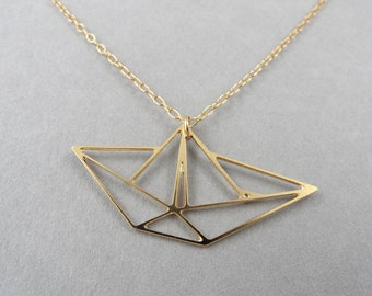 origami jewelry boat necklace origami necklace boat geometric jewelry boat charm