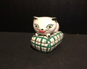 1958 Holt Howard Cozy Kitten Tape Measure & Pin Trinket Box